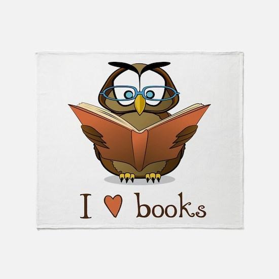 Book Owl I Love Books Throw Blanket