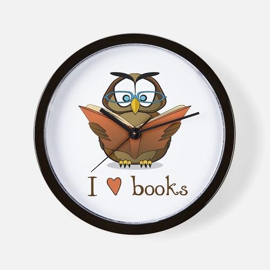 Book Owl I Love Books Wall Clock