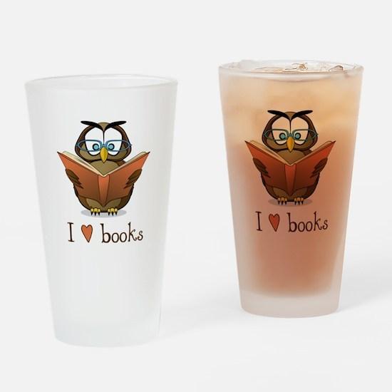 Book Owl I Love Books Drinking Glass