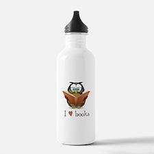 Book Owl I Love Books Water Bottle
