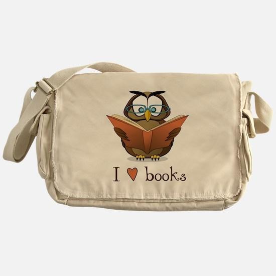 Book Owl I Love Books Messenger Bag