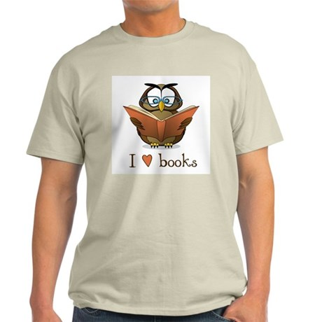 Book Owl I Love Books Light T-Shirt