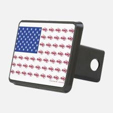 American Flag Made of Snowmobiles Hitch Cover