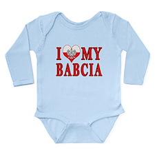 I Heart My Babcia Long Sleeve Infant Bodysuit