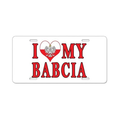 I Heart My Babcia Aluminum License Plate