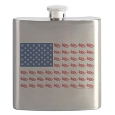 American Flag made of Snowmobiles Flask