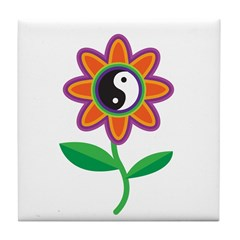 Retro Yin Yang Flower Tile Coaster