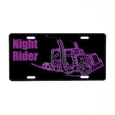 Purple Night Truck Driver Aluminum License Plate