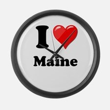 I Heart Love Maine.png Large Wall Clock