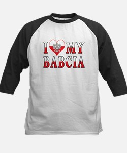 I Heart My Babcia Flag Kids Baseball Jersey