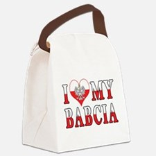 I Heart My Babcia Flag Canvas Lunch Bag