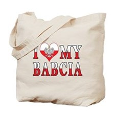 I Heart My Babcia Flag Tote Bag