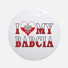 I Heart My Babcia Flag Ornament (Round)