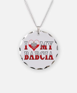 I Heart My Babcia Flag Necklace