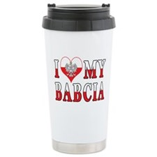 I Heart My Babcia Flag Travel Coffee Mug