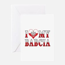 I Heart My Babcia Flag Greeting Card
