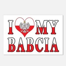 I Heart My Babcia Flag Postcards (Package of 8)