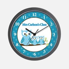 Blue Hoot Owl Teacher Clock - Mrs. Carlson