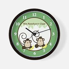 Silly Monkeys Teacher Wall Clock - Mrs. Renshaw