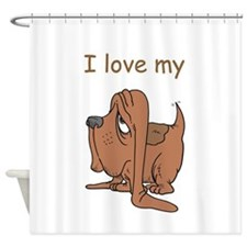 basset,i-love-my,png.png Shower Curtain