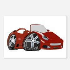 Red Cartoon Race Car Art Postcards (Package of 8)