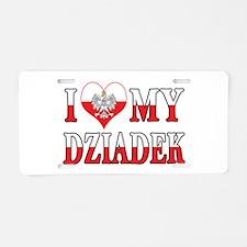 I Heart My Dziadek Flag Aluminum License Plate