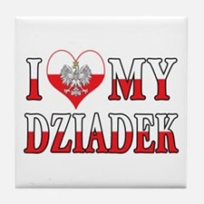 I Heart My Dziadek Flag Tile Coaster