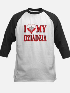 I Heart My Dziadzia Kids Baseball Jersey