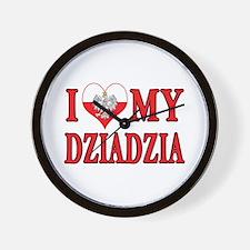 I Heart My Dziadzia Wall Clock