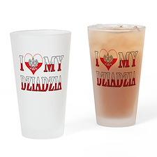 I Heart My Dziadzia Flag Drinking Glass