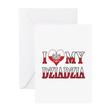 I Heart My Dziadzia Flag Greeting Card