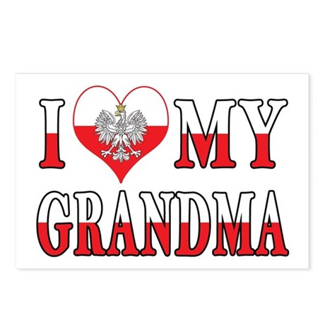 I Heart My Grandma Flag Postcards (Package of 8)