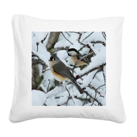 Tufted Titmouse & Chickadee Square Canvas Pillow