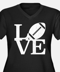 Love Footbal Women's Plus Size V-Neck Dark T-Shirt