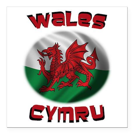 "Wales Cymru Square Car Magnet 3"" x 3"""