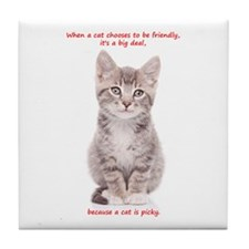 Picky Cat Tile Coaster