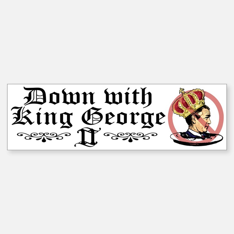 Down With King George Bumper Car Car Sticker
