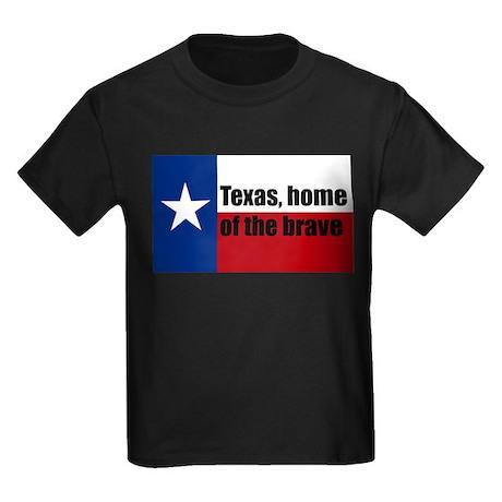 texas, home of the brave. Kids Dark T-Shirt