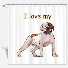 american-bulldog,i-love-my,.png Shower Curtain