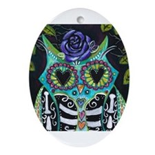 Cute Day of the dead skulls Ornament (Oval)