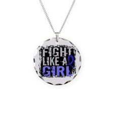 Licensed Fight Like a Girl 3 Necklace Circle Charm