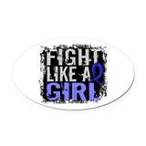 Colon cancer support Oval Car Magnets