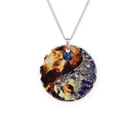 Fire & Ice Yin Yang Necklace Circle Charm