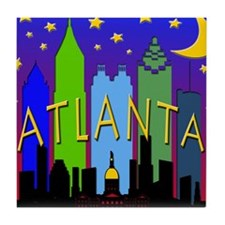 Atlanta Skyline nightlife Tile Coaster