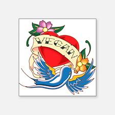 vegan tattoo Rectangle Sticker