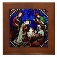 Nativity in stained glass Framed Tile