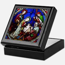 Nativity in stained glass Keepsake Box