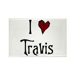I Heart (Love) Travis Rectangle Magnet