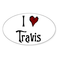 I Heart (Love) Travis Oval Decal