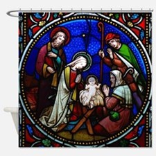 Nativity in stained glass Shower Curtain